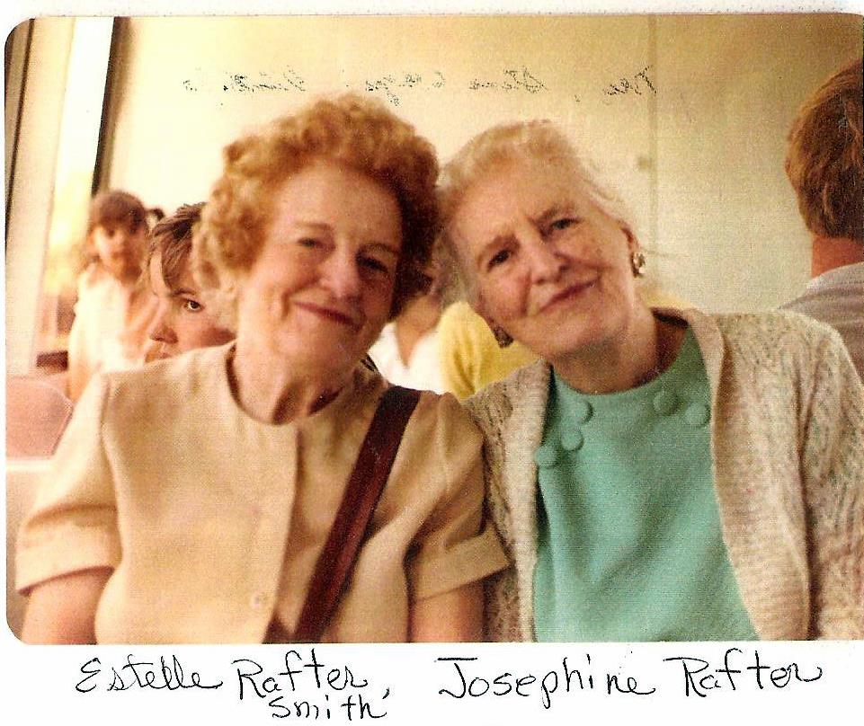 Estelle (left) and Josephine Rafter, daughters of John Rafter Sr.  Josephine's 1906 writing journal from fourth grade Cathedral School was found in the walls of the stone house. Photo taken approximately 1970.