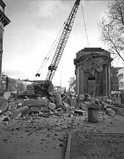 Demolition of Gateway Park Building, Washington Avenue South, Minneapolis. Photographer: Minneapolis Star Journal Tribune, 1953. Minnesota Historical Society.