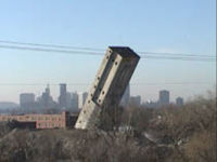 The last portion of  the Hamm Brewery grain elevators, the head house, was taken down on Friday, November 16, 2001 at 10 a.m.