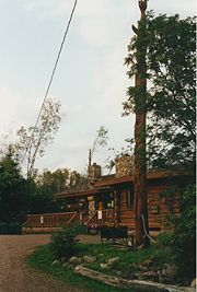 The Main Lodge at Hungry Jack Lake, 2002, was destroyed by fire in March, 2008. A new lodge was completed in 2009.
