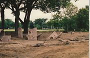 Playground dismantled at Matthews Park in 1994 in preparation for new equipment.
