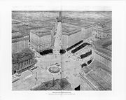Architect's drawing of a plan for a proposed plaza in the Gateway District. By Jules Guerin, 1917. Minneapolis Collection, Special Collections Dept, Hennepin County Library.