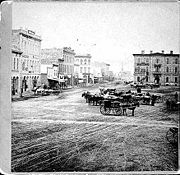 Bridge Square in 1867. Minnesota Historical Society.