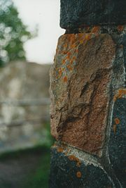 Detail of stonework by CCC at Gooseberry Falls State Park, 2003.